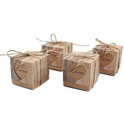 50pcs Candy Favor Boxes Vintage Kraft Bonbonniere + Burlap Twine, Love Heart Bag
