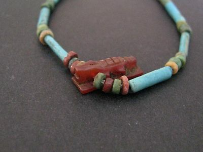 NILE  Ancient Egyptian Crocodile Amulet Mummy Bead Necklace ca 1200 BC