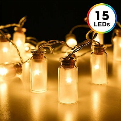 String Lights, 7.8 Feet 15 LED Battery Operated Fairy Glass Jar With 3 AA Case &