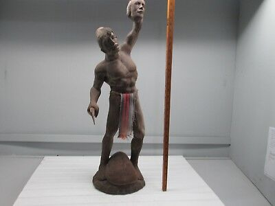 Hand Carved Tribal Philippine HeadHunter, 30 Inches tall, Dark Wood