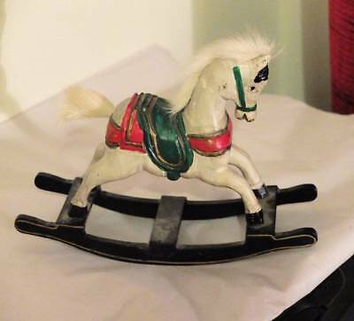 Vintage Miniature Rocking Horse With Realistic Mane & Tail C.1980's