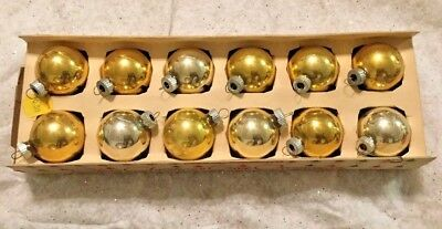 """Lot Of 12 Small Vintage 2"""" Shiny Brite Christmas In The Original Box Silver/Gold"""