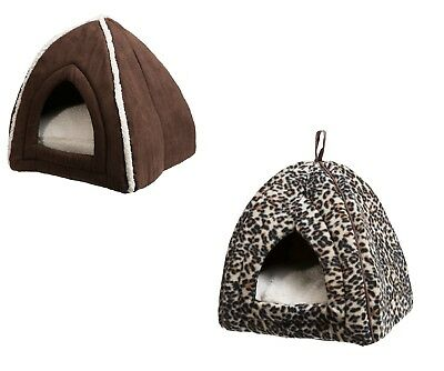 Cosy Cat Igloo Soft Warm Bed Bedding for Pets - Leopard Print / Brown