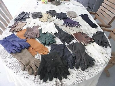 Lot 31 Pairs Vintage Ladies Kid Leather,cotton,crochet & Lined Driving Gloves