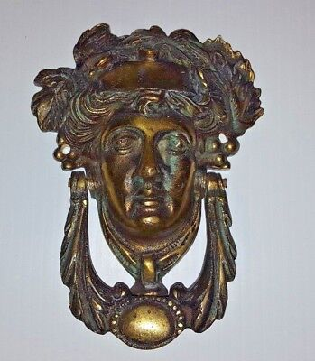 Antique Brass Door Knocker, Grecian Goddess, Brass striker.