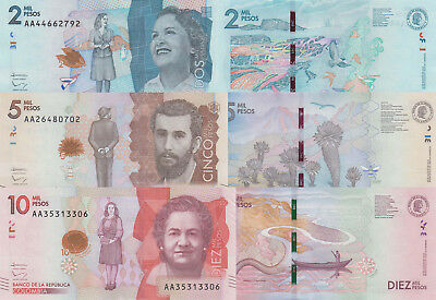 Colombia 3 Note Set: 2000 to 10000 Pesos (19.8.2015) - p458, p459 and p460 UNC