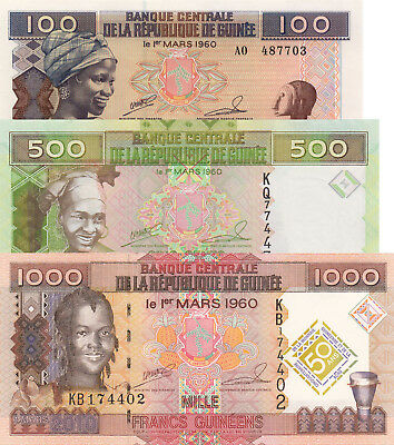 Guinea 3 Note Set - 100, 500 & 1000 Francs (2010/2012) p35b, p39b & p43