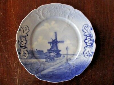 ANTIQUE ROSENTHAL DELFT BLUE WINDMILL DISPLAY DISH or PLATE - 1900