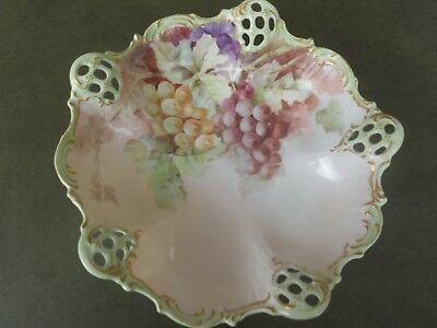 """Antique B R C Moliere Porcelain Reticulated 10"""" Dish W/ Hand Painted Grapes"""