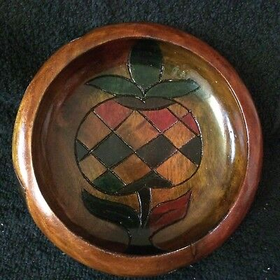 Carved and Painted Wood Bowl