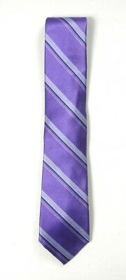New Bloomingdales The Mens Store Purple Striped 100% Silk Neck Tie