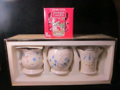 Classic Lenox 3 Floral Votives Flower Candle Holders w Yankee Candle Tealights