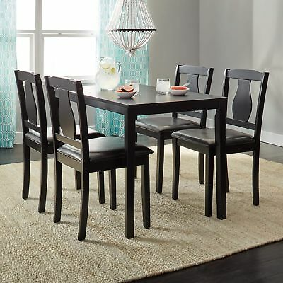 5 Piece Dining Room Set Table Chairs Kitchen Breakfast Wood Dinette Black Dinner