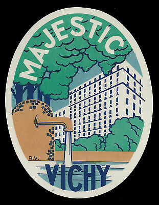 Hotel Majestic VICHY France - vintage luggage label