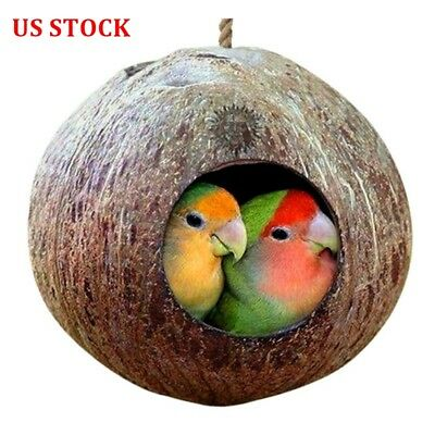 Natural Coconut Shell Bird Nest House Hut Cage Feeder Pet Parrot Parakeet Toy US