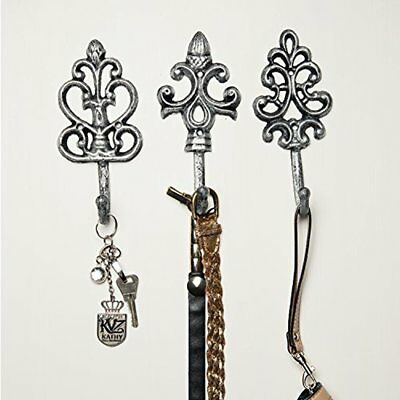 Shabby Chic Cast Iron Decorative Wall Hooks - Rustic Silver Antique French Charm