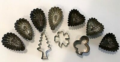 Antique Tin Ware Cookie Cutters & Molds, Heart & Oval Molds, 3 Cookie Cutters