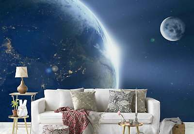 Planet Earth Moon Space Photo Wallpaper Wall Mural (FW-1135)