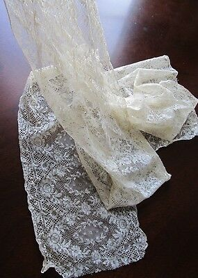 """Beautiful Delicate Antique OFF WHITE FRENCH LACE TRIM Ribbon Doll Clothes 84"""""""