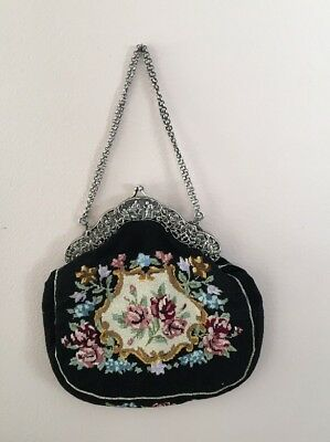 Antique Sterling Frame Bag Embroidered Needlework Purse Vtg Old Black Flower 800