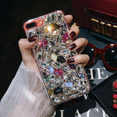 3D Sparkle Jeweled Crystal Bling Diamond Case Cover For iPhone XR XS 8 6 7 Plus