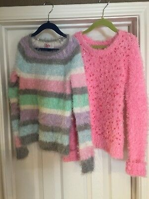 Justice Girls Soft Furry Sweater,  (1) Striped and (1) One Pink, Warm Top Size 8