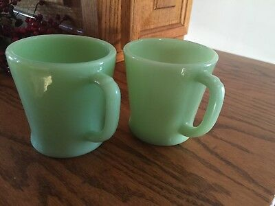 Fire - King Two Jadeite D Handle Mugs - One Flat Bottom-  Both Marked - AOkay