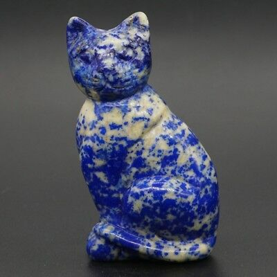"2.5"" Natural Gemstone Lapis Lazuli Crystal Hand-Carved Cat Statue Home Decor"