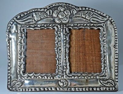 Antique Victorian Era Sterling Silver Double Picture Frame