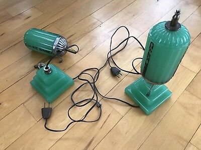 Art Deco Vintage Antique Boudoir Lamps Pair Jade Green