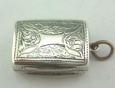 ANTIQUE VICTORIAN TINY SOLID SILVER VINAIGRETTE  1862	Edward Smith