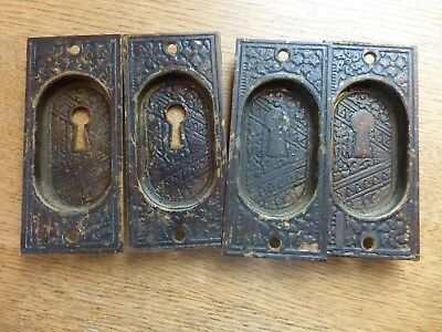 2 pair Vintage Antique metal pocket door insert ornate Victorian home