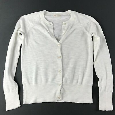 J Crew Crewcuts Girls Cardigan Sweater White Cotton Sparkly Button Size 12 EUC
