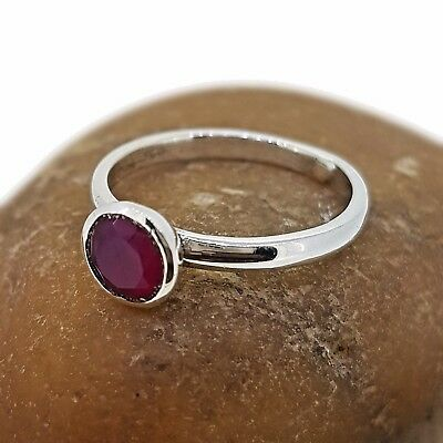 Handmade Natural Ruby Gemstone 925 Sterling Silver Ring Thin Band Size 6.5 Sh702