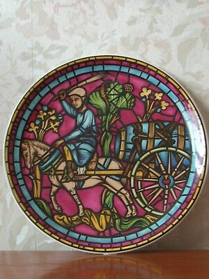 Prinknash Abbey Pottery Saint Lubin window plate Chartres Cathedral 10""