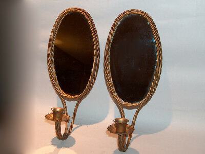 8306 Vintage SET 2 Italian Tole Rope Wall Sconce Mirrors Candle Holder Gold Gilt