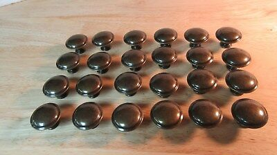 Lot of 24 Antique Brass Colored Metal Knobs Pulls Door Drawer