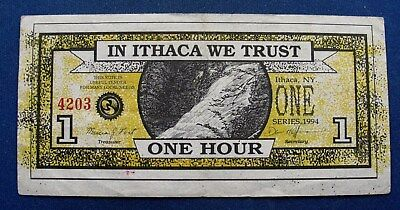 Ithaca Hours 1 Hour, 1994. Ithaca NY local currency. aXF. Water falls, clocks