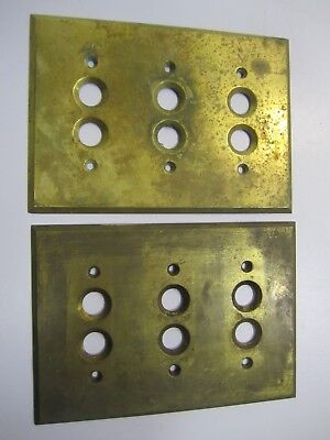 Antique Pair Push-Button Heavy Brass, 3-Switch, Electrical Plate Covers 1903