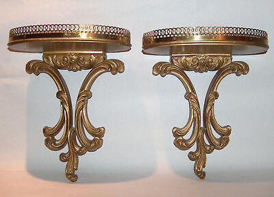 8305 Vintage Italian Wood Wall SET 2 Wall Shelves Brass Gallery Gold Gilt Rococo