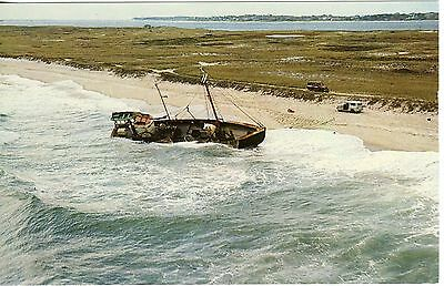 Vintage Postcard Cape Cod, MA  Wreck of the Glen & Maria, 10/19/65 Uncirculated