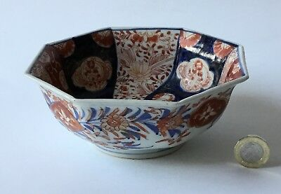 Beautiful 19th C Japan Imari Pottery Octagonal Bowl Blue Red Flower Decoration