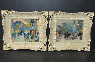 Pair of Vintage Paris Street Scene Prints in Plastic French Povincial Frames