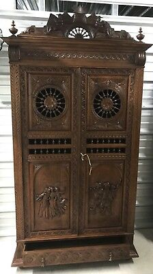 Antique French Brittany Linen Dowry Cupboard Armoire Cabinet C.~ late 19th cent.