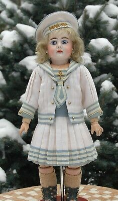 Chic three-piece suit in a marine style for French or German antique dolls