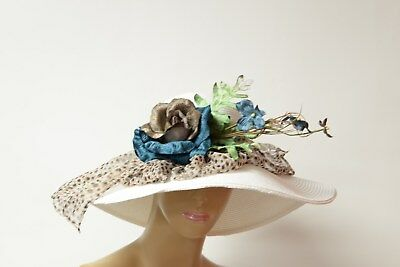 Wild white/blue Kentucky Derby hat, summer hat, soft and comfortable