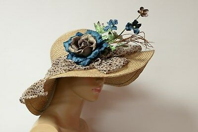 Wild natual/blue Kentucky Derby hat, summer hat, soft and comfortable