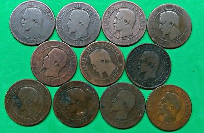 Lot of 11 Mixed Old French 10 Centimes Coins 1853-1856 Vintage France Coppers !