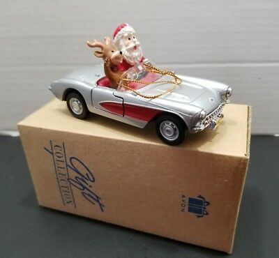 """Sporty Santa Ornament"" in 1957 Corvette & Reindeer Christmas Avon 2001 NIB"