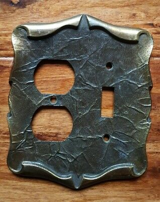 Vintage Amerock Carriage House Antique Brass Dual Switch Outlet Wall Plate Cover